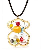 Wholesale Golden Earrings 14k - European Style Pierced Bear Pendant Earrings Colorful Jewelry Set, Stainless Steel Jewelry, Titanium Necklace