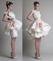 Wholesale Sexy Slit Mini Dress - short ball gown ruffles beach wedding dresses 2017 Krikor Jabotian bateau neckline cap sleeves 3D floras lace appliques