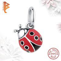 Wholesale Ladybug Charms Wholesale - BELAWNAG Wholesale 925 Sterling Silver Charms Red Ladybug Charm Beads Fit Pandora Charm Bracelets&Necklaces Fashion DIY Jewelry Making