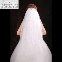 Wholesale Ivory Wedding Veils Crystals - 2016 New Arrival Rhinestone Soft Tulle White Ivory Wedding Veils With Comb Rhinestone Crystal Bridal Veils Wedding Accessories