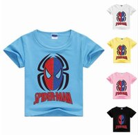 Wholesale Spiderman Sweatshirt - 2-8Years spiderman children short sleeve sweatshirts boys fashion boys t shirt casual kids tops costume for kids MS1100