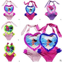 Wholesale Heart Shaped Swimwear - Moana Trolls Baby Girls One-Pieces Swimsuit 2017 Summer Lace Heart-shaped Swimwear Baby Girls Swimwear Princess Beach Wear Girls Bikini