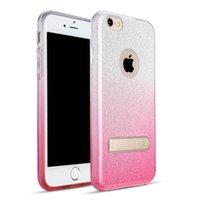 Wholesale black retail plastic bags for sale - Group buy For iPhone Plus S Plus SE TPU PC Hybrid Case Glitter Shining Defender Cover with Kickstand Faded Color Retail Opp Bag
