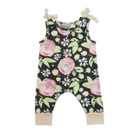 Wholesale One Piece Summer Pajamas - 2017 Summer INS Girls Cute Floral One Piece Girls Sleeveless Floral O-Neck With Bowknot Rompers Baby Suits Newborn Pajamas