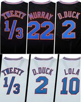 Wholesale Black White Tune Squad Jersey Men s Shirt Taz Bugs Tweety D duck Lola Murray Basketball Clothing Stitched