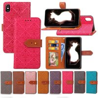 Wholesale Iphone4 Flip Covers - PU Leather Wallet Case For Apple iPhone4 5S 5C iPhone6 6S Plus 7G 7Plus2 Soft TPU Card Slots Flip Cover Lanyard