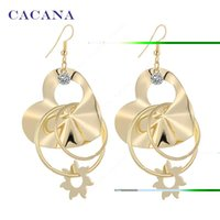 Wholesale Heart Peach Earring - CACANA Gold Plated Dangle Long Earrings For Women Heart Peach With CZ Diamone Bijouterie Hot Sale No.A215 A216