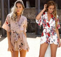 Wholesale womens white playsuit - rompers womens jumpsuit 2017 bodysuit women printed v-neck sexy loose casual playsuit combinaison short femme body overalls ONY 0381