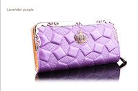 organizer manufacturer - The new European ladies purse manufacturers Lingge Long crown leather embossed hand bag purse