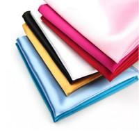 Wholesale Pocket Handkerchiefs - Mens Satin Solid Plain Color Handkerchief Wedding Party Hanky Pocket Square Handkerchief