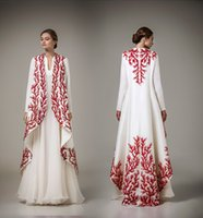 Wholesale Islamic Clothing Arabic - 2016 muslim evening dresses beading embroidery prom dresses dubai arabic kaftan abayas Islamic clothing evening gowns Vestido de Festa Longo