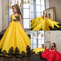 Wholesale Kids Bright Dress - Bright Flower Girl Dresses Lace Applique Bow Communion Dress Square Neck A Line Gowns For Kids