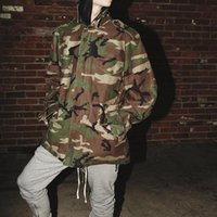 Wholesale mens high standing collar coat - high quality fall fashion mens oversized camouflage jackets loose high street vintage zipper FOG camo army green coats 2018