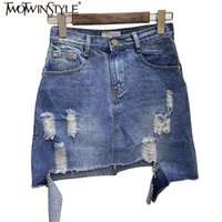 Wholesale Packet Clothes - TWOTWINSTYLE 2017 Summer Women Ripped Hole Denim Pencil Skirts Packet Hip Mini Short Jeans High Waist Clothes Large Size Korean 7413