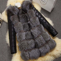 Wholesale Vest Fake Fur - 2016 new high imitation silver fox fur coat women Fake fur vest PU sleeves warm winter coat fox coat S-4XLSize women overcoat
