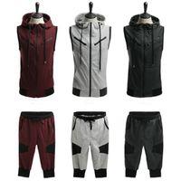 Wholesale black crop jacket - Wholesale- Men's sport suits hoodie jacket matching jogger pants outdoor sportswear Sleeveless Sweater + Cropped Trousers men Tracksuit