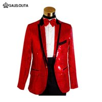 Wholesale Mens Wedding Double Breasted - Wholesale- Plus Size Mens Gold Blue White Red Sequins Tuxedo Suit Wedding Stage Performance Blazers Pant Suit