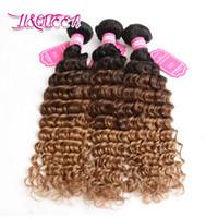Wholesale Three Toned Ombre Hair - Ombre Hair Bundles 1B-4-27 Deep Wave Malaysian Human Hair Extensions Three Tone Unprocessed Beauty Hair Bundles Deep Wave