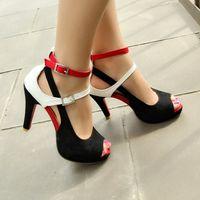 büyük seksi taban toptan satış-Toptan Satış - Ayakkabı Kadın Moda Parti Ayakkabı Kadın Seksi Kırmızı Alt Yüksek Topuklu Yaz Pompalar Ayak Bileği Kayışı Sandalet bayan Ayakkabıları Büyük Boy 32-43