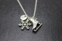 Wholesale Winter Hot Sale Jewelry - New arrival Hot sale 12pcs  Antique Silver Ice Skate Charm Pendant Necklace Winter Snowflake initial necklace winter jewelry