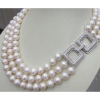 Wholesale Triple Strand Pearl Necklace 19 - Triple strands AAA 10-11MM south sea white pearl necklace 17-19 inch