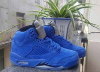 Wholesale 5s Leather Genuine - Basketball Shoes Retro 5 Blue Suede 5s Basketball Shoes Men Sports Shoes Free Shipping with box size 41-47