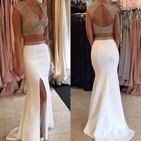 Wholesale two pieces gold prom dress long for sale - Group buy New k17 Gold Top Two Pieces Prom Dresses Mermaid Lace Applique Ruffles Tiered Sexy Deep V Neck Open Back Split Long Party Evening Gowns