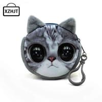 Wholesale Harajuku Wallets - Wholesale- 11 Style Mini 3D Cat Plush Coin Purse Animals Prints Zipper Wallets Harajuku Children Bag Women Billeteras Cute Monedero Gato