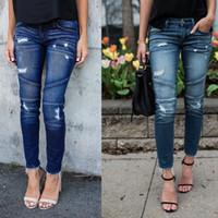 Wholesale Winter Jeans Woman - Winter Style Blue Ripped Jeans Denim Mid Waist Women Pants Female Skinny Slim Causal Pencil Pants