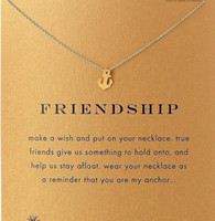 Wholesale Gold Color Pendants - With card! Silve and gold color cute Dogeared Necklace with boat anchor (friendship), no fade, free shipping and high quality.