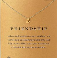 Wholesale With card Silve and gold color cute Dogeared Necklace with boat anchor friendship no fade and high quality
