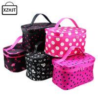 Wholesale Harajuku Case - Wholesale- Women Cosmetic Bag Harajuku Striped Dots Makeup Bag Portable Travel Toiletry Handbag Make Up Organizer Box Case