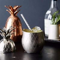 Wholesale Copper Drink - Creative Pineapple Tumbler Cocktail Cups Mugs 3 Colors (Silver,Copper,Gold) Stainless Steel Beer Cups Cocktail Drinking Bar Tool