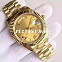 Wholesale Mens Mechanical - 18 ct yellow gold DAYDATE 40 self-winding mechanical movement Champagne dial Fluted bezel Concealed folding Crown clasp Mens watch
