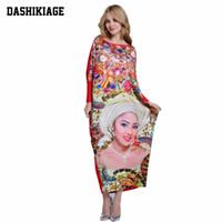 Wholesale Super Plus Club Dresses - Wholesale- 2017 African Dashiki New Fashion Design Bazin Super Elastic Party Plus Size Diamond Loose Face Print Maxi Dress For Lady