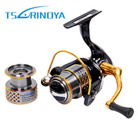 Wholesale Carp Spinning Reels - TSURINOYA F2000 Full Metal 8+1BB Saltwater Fishing Spinning Reel Double Spool 5.2:1 Fish Carretilha Feeder Carp Spinning Reel +B