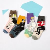Wholesale Michael Socks - Wholesale-inDostyle Men&Women harajuku printing socks Chaplin Michael Jackson painting Art Sock Cotton Casual socks HK025