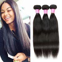 Wholesale Dark Brown Brazilian Extensions - Cosy Brazilian Straight Human Hair 3 Bundles Brazilian Cheap Virgin Human Hair Extensions Straight Hair Weave Bundles Color #1B