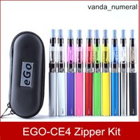 Wholesale E Cig Packaging - CE4 eGo Starter Kit Zipper Case E-Cig Electronic Cigarette package Single Kit 650mah 900mah 1100mah DHL