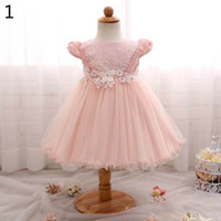 Wholesale Baby Party First - Retail Summer Baby Girls Dresses Lace Flower tulle Princess Ball Gown First Birthday Party Dresses Children Clothing 0-2Y RC00301F