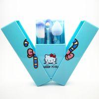 caja de almacenamiento de metal envío gratis al por mayor-Kit de calidad superior Hello Kitty 8 piezas conjunto de pincel de maquillaje Herramientas de maquillaje profesional Conjunto de caja de almacenamiento portátil completo envío gratuito