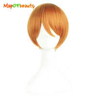 Wholesale Cosplay Orange Hair - wig anime MapofBeauty short straight cosplay wigs Hoshizora Rin orange Red color High Temperature FiberHeat Resistant Synthetic hair