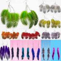 Boucles d'oreilles en plumes 12 couleurs en gros lots Chaîne de chaîne de charme mignon Dangle Eardrop Hot New (Navy Navy Blue Deep Pink Yellow Lavender) (JF291)