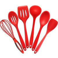 Wholesale nylon utensils - Wholesale- 1 Piece 6 Styles Kitchen Silicone Cooking Tools Nylon Cooking Utensils Spoon Shovel Whisk