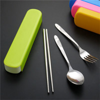 Wholesale green chopsticks - CJ033 Simple and stylish stainless Steel Lunch Tableware Outdoor Portable Tableware Three-piece Tableware box color green, yellow, pink