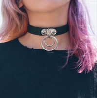 Wholesale Goth Silver Ring - Street Style Girls Leather Rivet Punk Goth Ring Collar Choker Funky Necklace Leather Bracelet