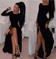 Wholesale Thigh High Maxi Dresses - Vestido de festa Charming Black Maxi Prom Dresses A Line Jewel Neck Long Sleeves High-thigh Split Formal Evening Dresses