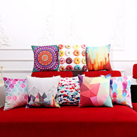 Wholesale Strip Pillow - 8 Style Cotton Linen Square Pillow Case Colorful Strip Geometry Donut Printed Sofa Decorative Cushion Covers Living Room Chair Pillow Case