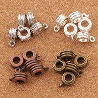 Wholesale Wholesale Round Metal Bead - Three-wire Design Connectors Bails Beads 150pcs lot 4Colors Antique Silver Bronze Copper Fit Charm European Bracelet L731