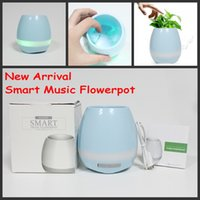 Wholesale Kids Mini Music Player - Creatives Smart Music Bluetooth Flowerpot Mini Subwoofer Speaker with LED Multiple Colors Home Smart Plant Office Mp3 Music Player Toys